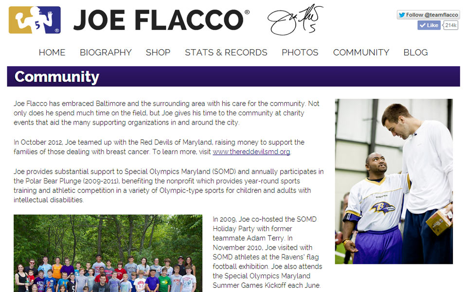 Joe Flacco Official Website - Sample 3